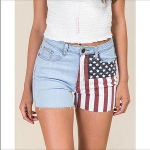 Harper Distressed Denim Jean Flag Shorts Size 30